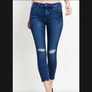 Just Black Denim Hem Destruction Skinny Jeans 30